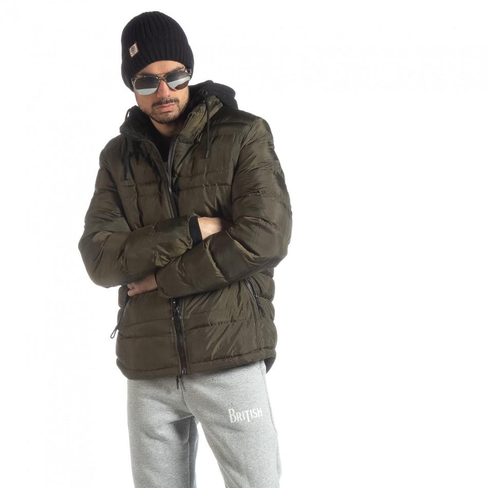 Ανδρικό χειμερινό μπουφάν με κουκούλα σε χρώμα military  it051218-63
