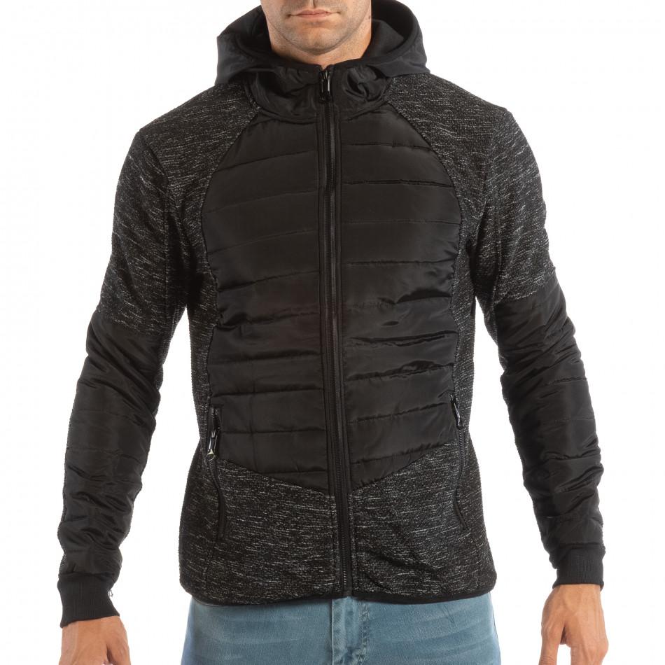 Ανδρικό μπουφάν σε μαύρο και γκρι μελάνζ και συνδυασμό υφασμάτων ... c686c2730e7