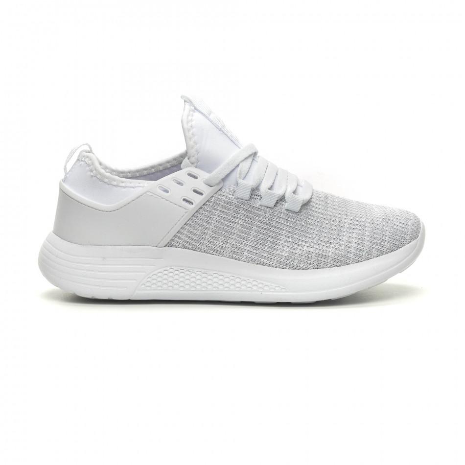 Ανδρικά λευκά μελάνζ αθλητικά παπούτσια ελαφρύ μοντέλο it040619-3