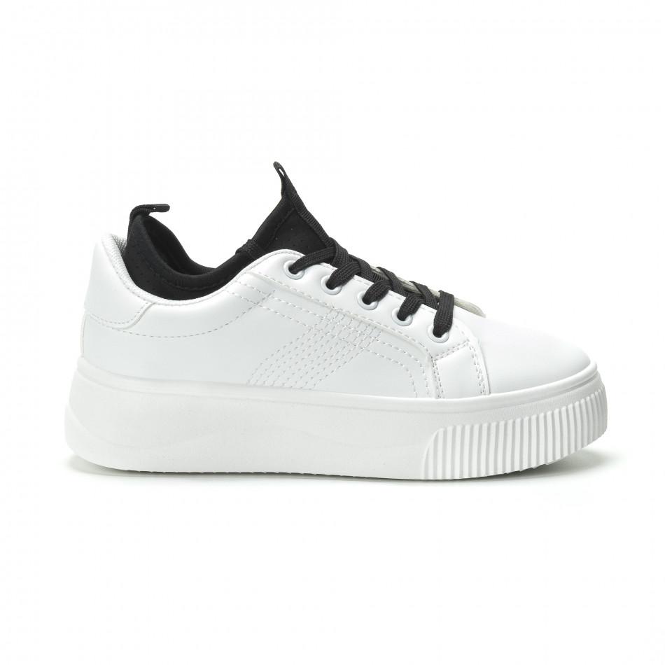 Γυναικεία λευκά sneakers με διακοσμητικό καλτσάκι it250119-85