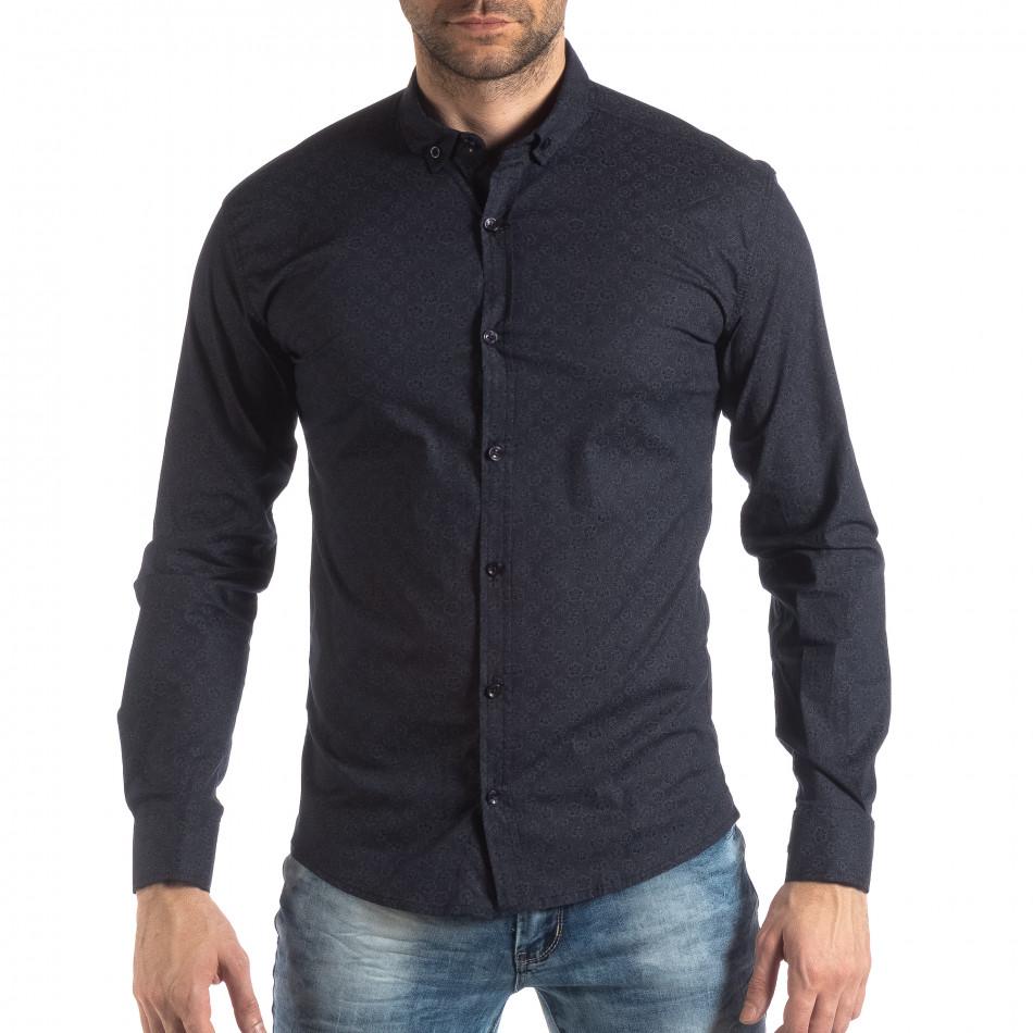 Ανδρικό Slim fit σκούρο μπλε πουκάμισο με φλοράλ μοτίβο it210319-93