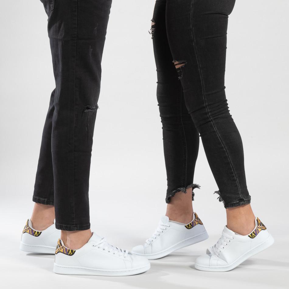 Λευκά sneakers για ζευγάρια με διακοσμητική λεπτομέρεια cs-it150319-6-it150319-51
