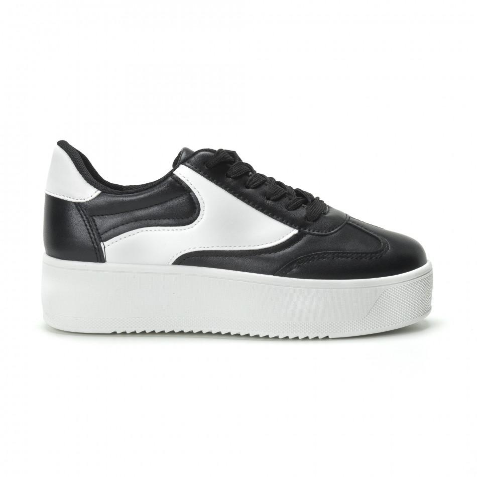 Γυναικεία μαύρα sneakers με πλατφόρμα κλασικό μοντέλο it250119-98
