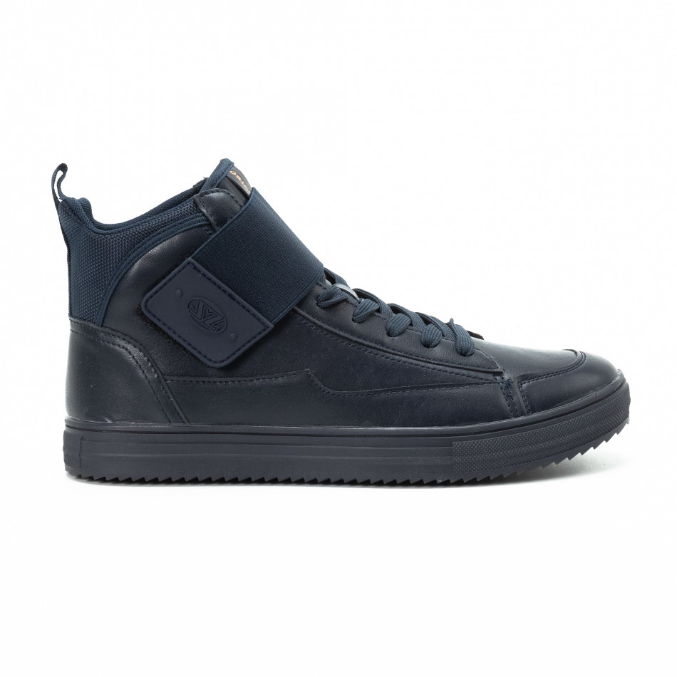 Ανδρικά γαλάζια sneakers με αυτοκόλλητο it140918-9