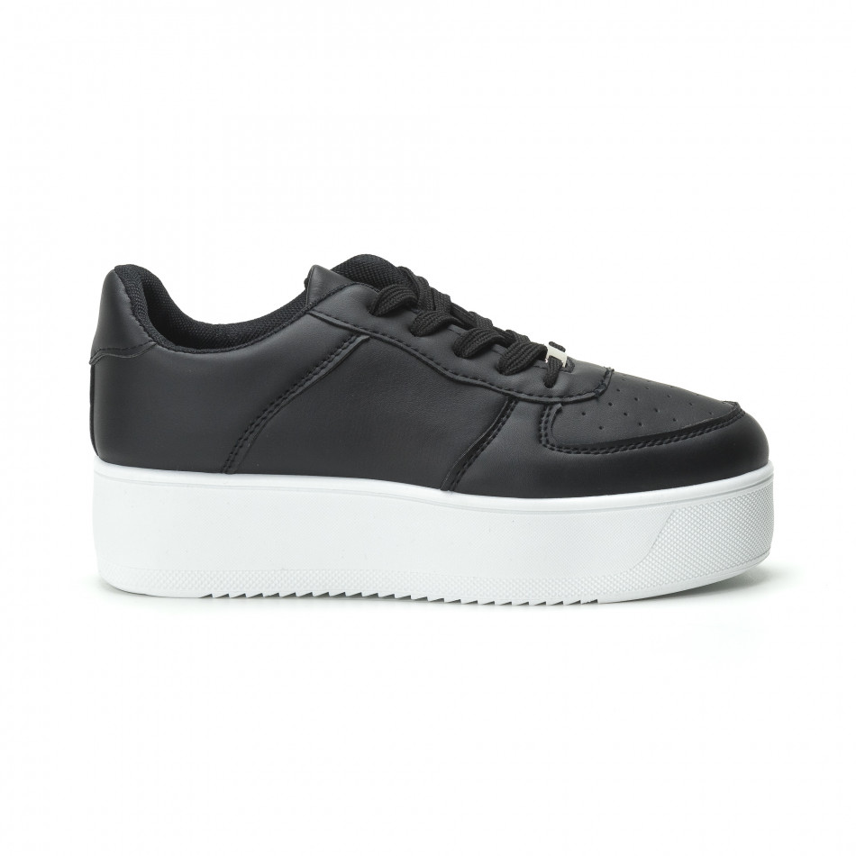 Basic γυναικεία μαύρα sneakers με πλατφόρμα it250119-95