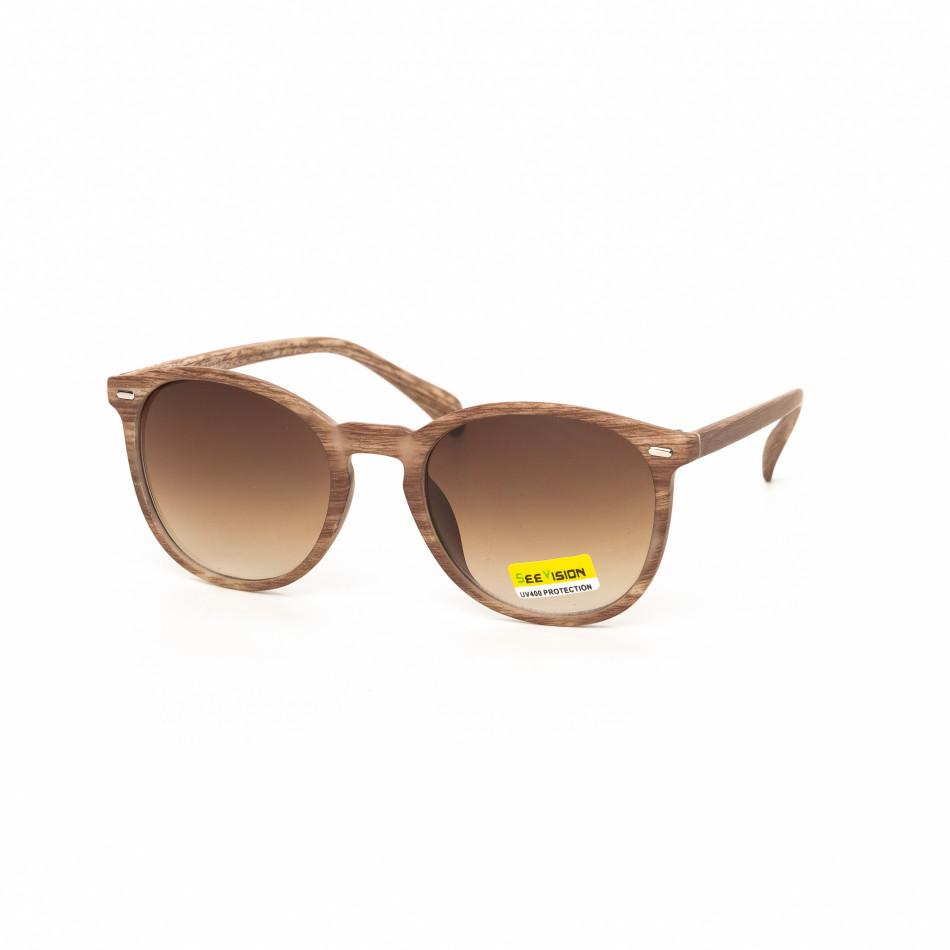 Ανδρικά γκρι γυαλιά ηλίου ξύλινο μοτίβο μπεζ it030519-47