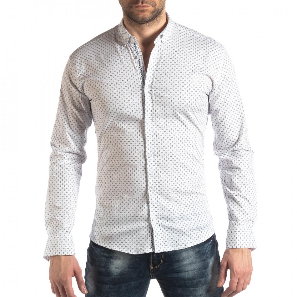 Ανδρικό λευκό Slim fit πουκάμισο με σταυροτό μοτίβο it210319-94