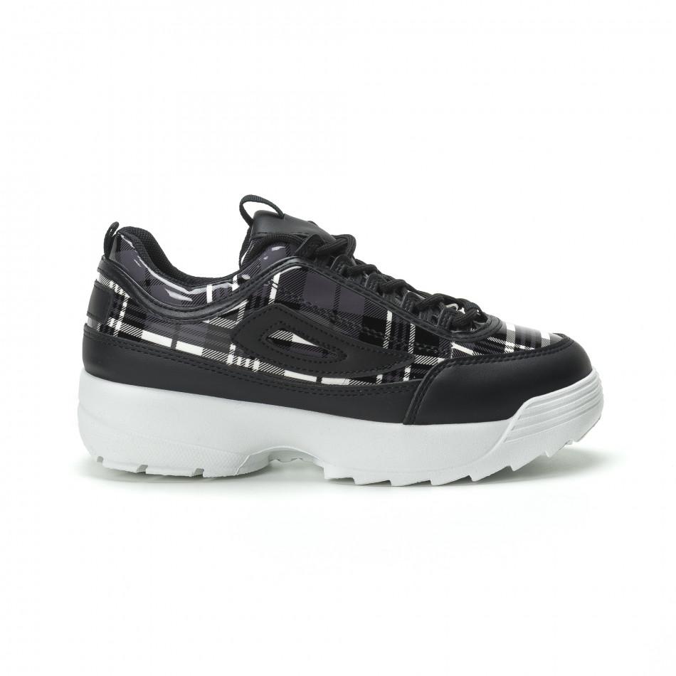 Γυναικεία μαύρα καρέ sneakers με Chunky πλατφόρμα it250119-54