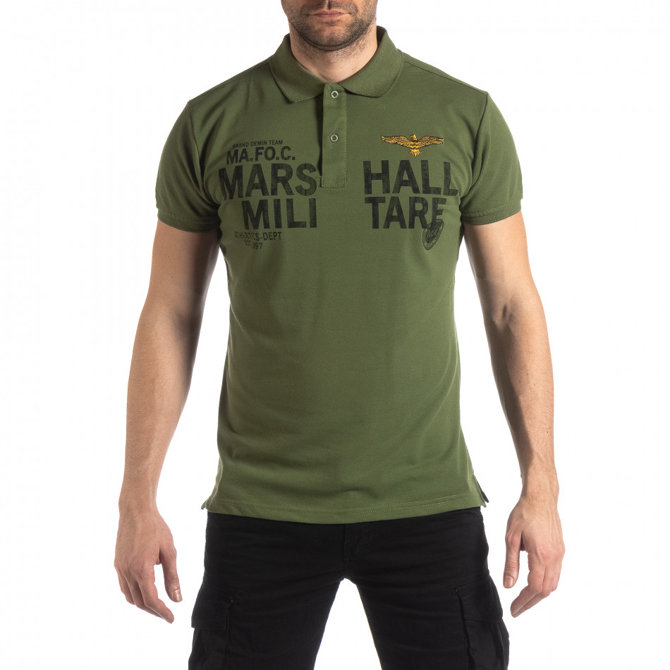 Ανδρική πράσινη κοντομάνικη πόλο Marshall Militare it210319-88
