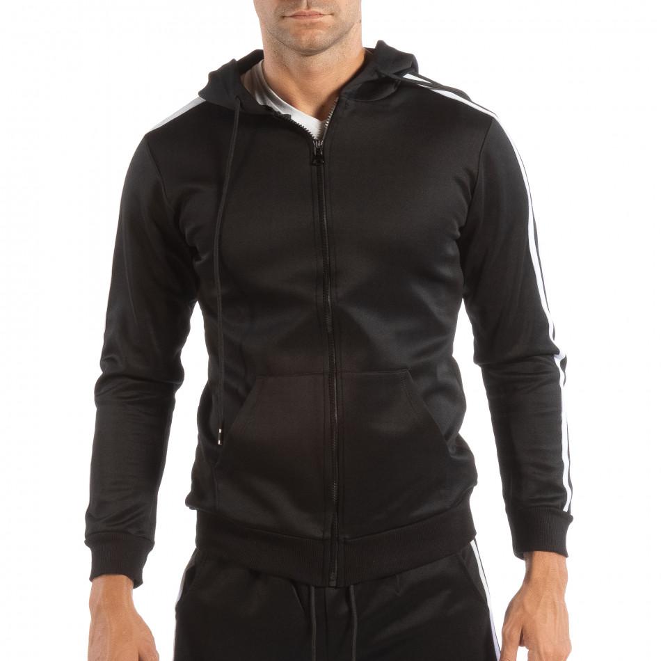 Ανδρικό μαύρο φούτερ με κουκούλα και λευκό ριγέ it240818-105