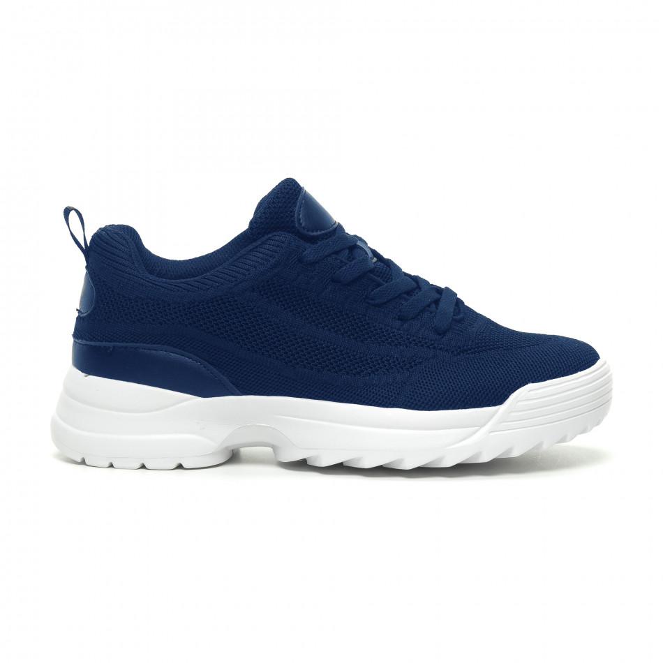 Ανδρικά μπλε αθλητικά παπούτσια με Chunky σόλα it230519-131