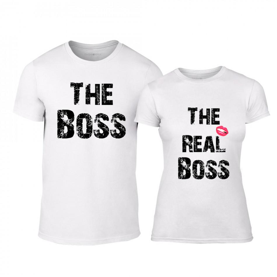 Μπλουζες για ζευγάρια Boss λευκό TMN-CP-139