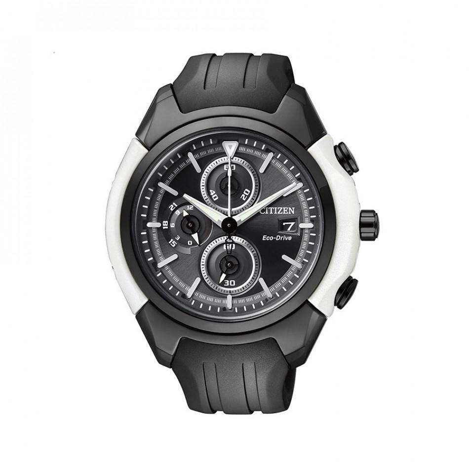 Ανδρικό ρολόι Citizen Eco-Drive Black Dial Chronograph CA0286-08E CA0286 08E/Cal B612