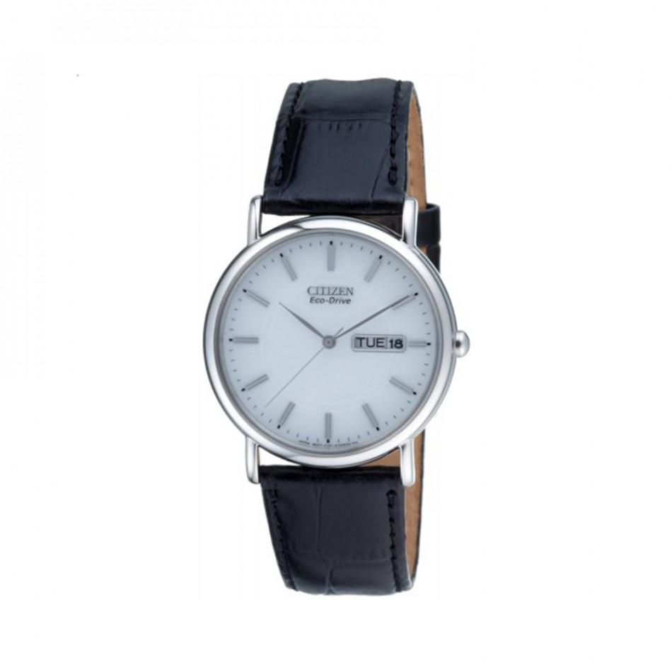 Ανδρικό ρολόι Citizen Eco-Drive White Dial Black Leather Calendar BM8241-01A BM8241 01A