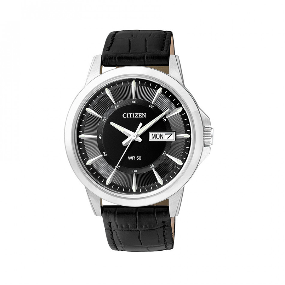 Ανδρικό ρολόι Citizen Eco-Drive Black Dial Black Leather BF2011-01EE BF2011 01EE