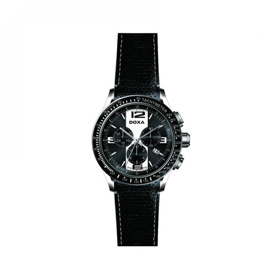 Ανδρικό ρολόι Doxa Trofeo Black Leather  2851026301W