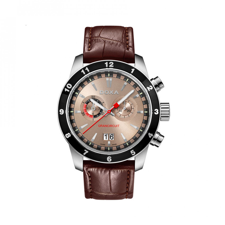Ανδρικό ρολόι Doxa Grancircuit Chronograph Pink Dial Brown Leather  1401032102