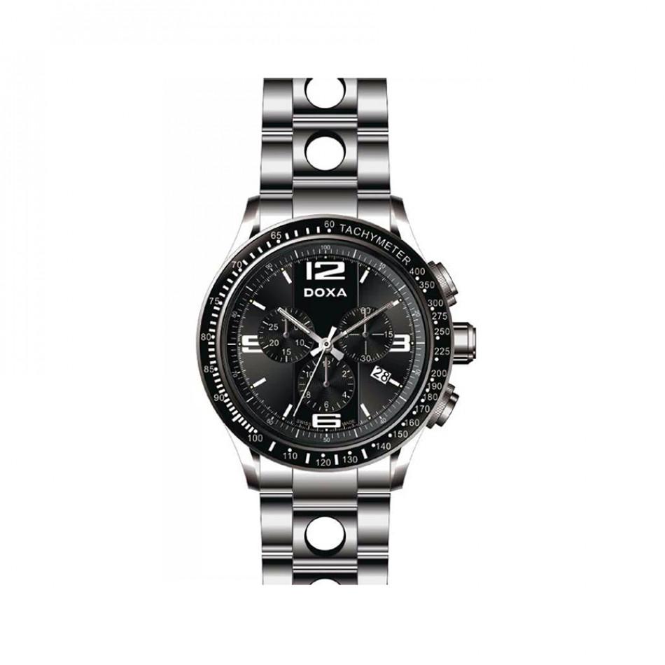 Ανδρικό ρολόι Doxa Trofeo  Sport Chronograph Black Dial Steel   2851010310