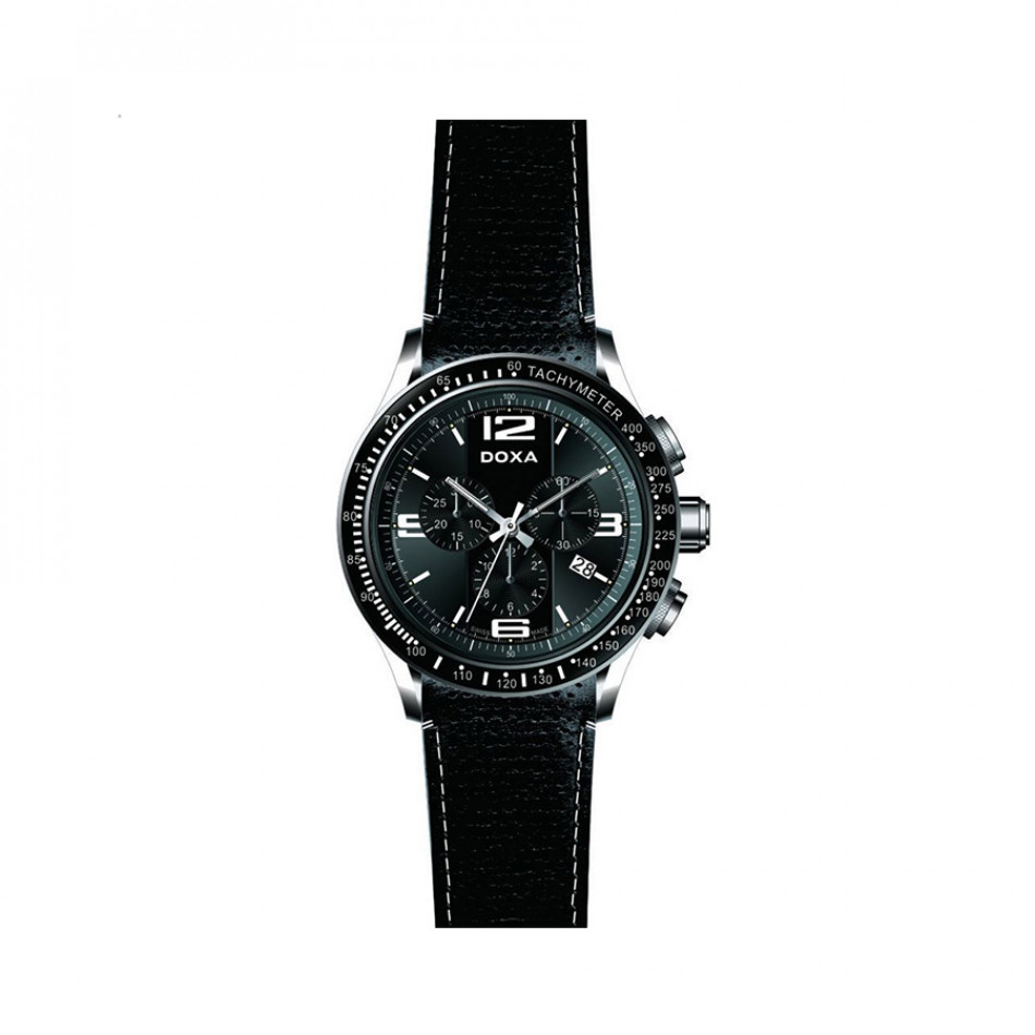 Ανδρικό ρολόι Doxa Trofeo Quartz Chronograph Black Dial Black Leather   2851010301W