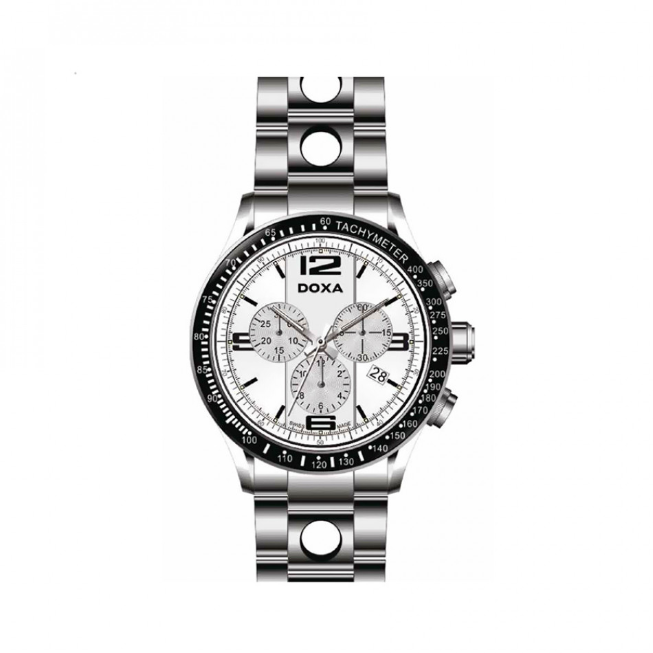Ανδρικό ρολόι Doxa Trofeo Chronograph White Dial Stainless Steel  Men's  2851002310