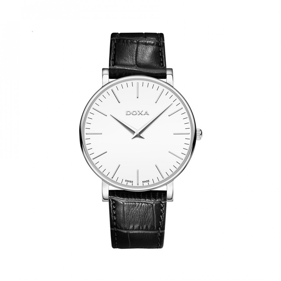 Ανδρικό ρολόι Doxa D-Light White Dial Black Leather Quartz   1731001101