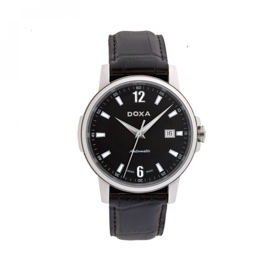 Ανδρικό ρολόι Doxa Ethno Black Dial Black Leather  2051010301