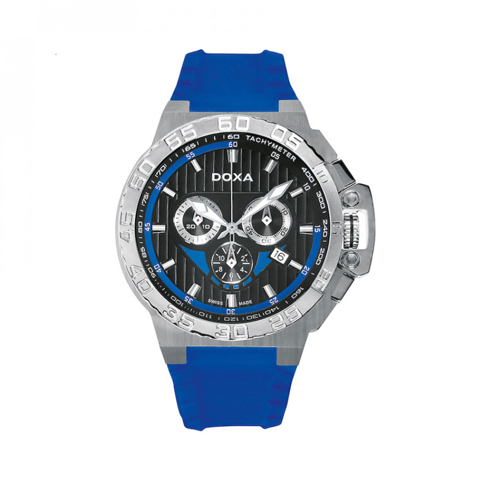 Ανδρικό ρολόι Doxa Splash Chronograph Black Dial Blue Rubber  7001019132