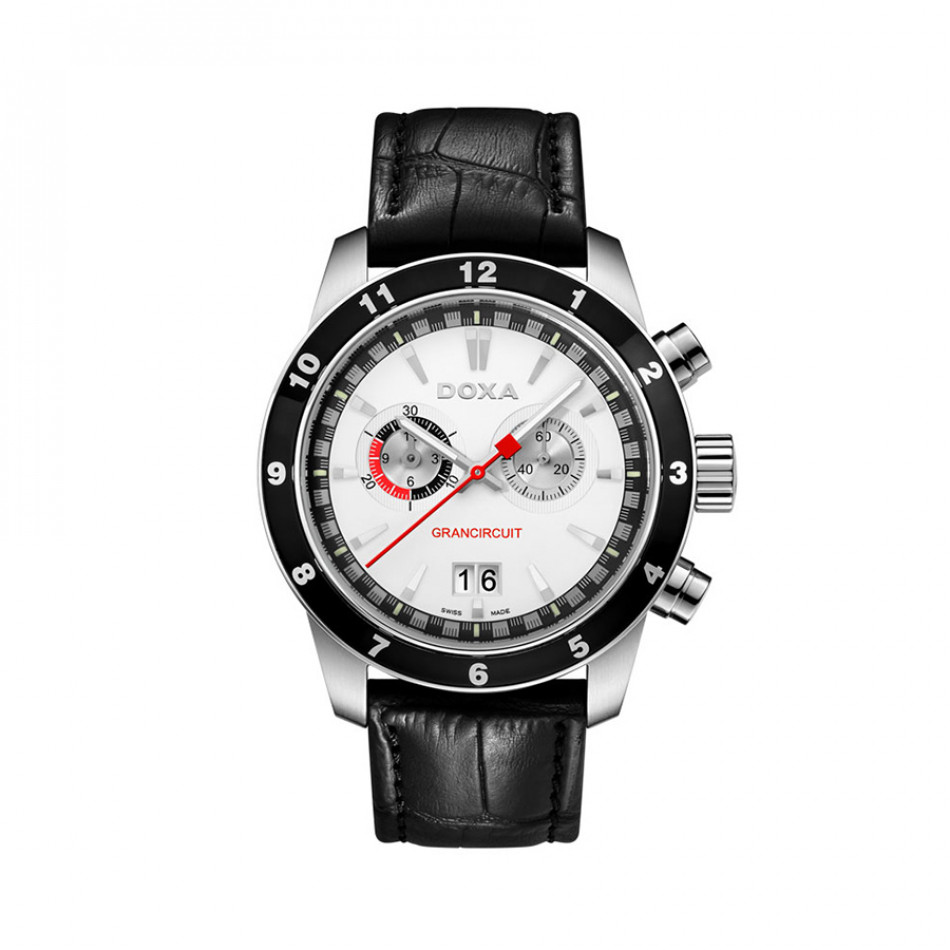 Ανδρικό ρολόι Doxa Grancircuit Chronograph White Dial Black LEather  1401001101