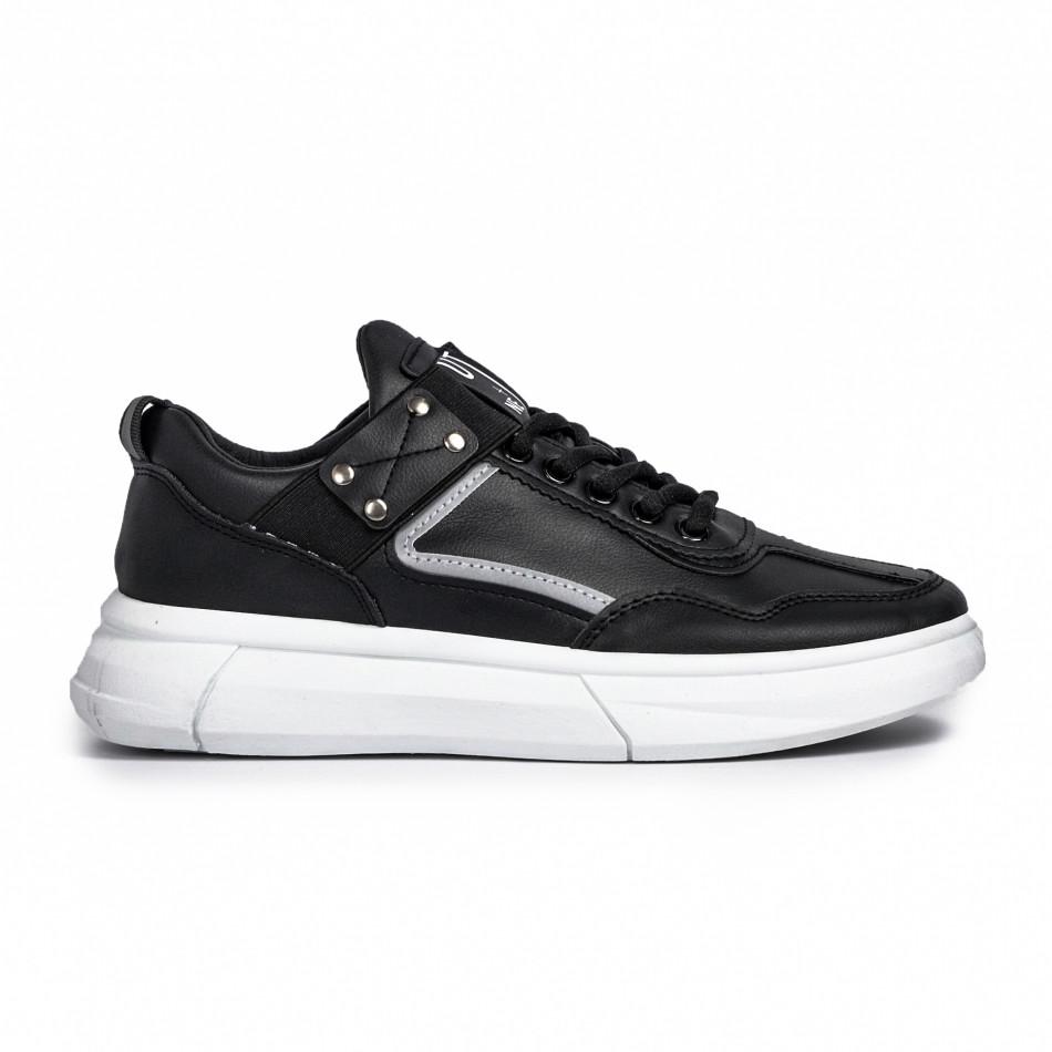 Ανδρικά μαύρα sneakers με λάστιχο it081020-2