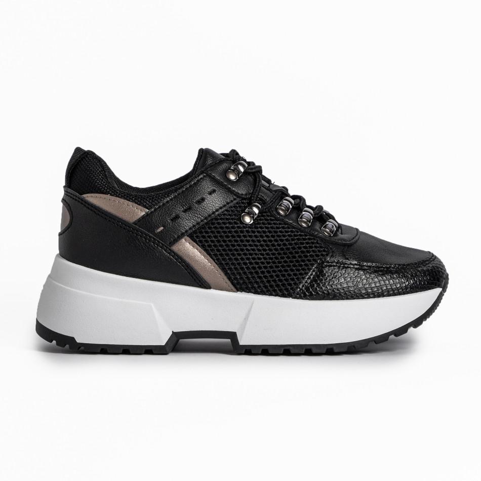 Sneakers με συνδυασμό υλικών σε μαύρο χρώμα it280820-10