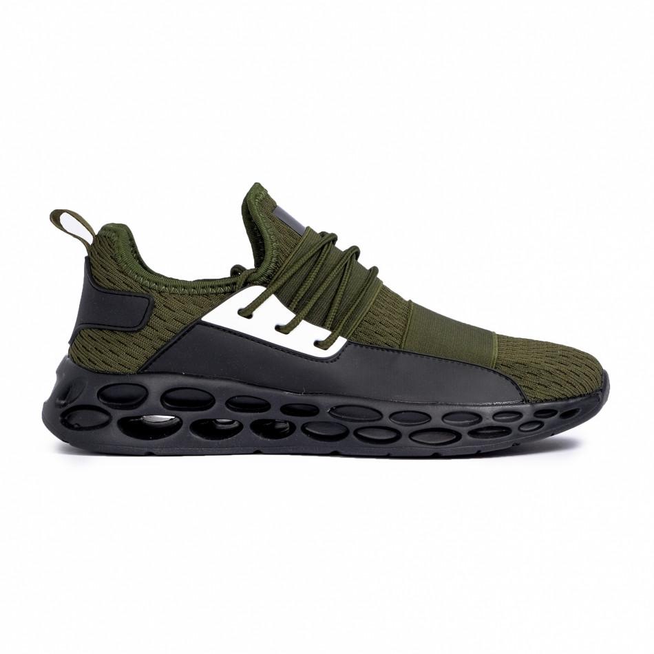 Ανδρικά πράσινα αθλητικά παπούτσια κάλτσα με λάστιχο it180820-4