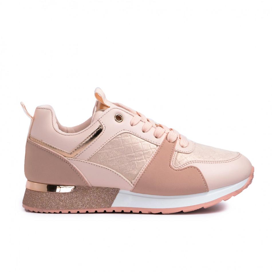 Γυναικεία ροζ sneakers με λεπτομέρεια glitter it110221-7