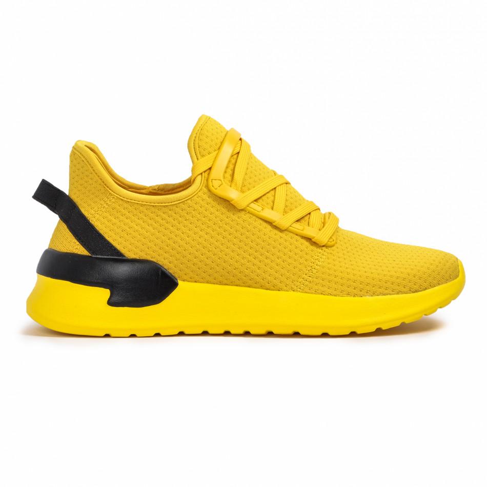 Ανδρικά κίτρινα sneakers κάλτσα Lace detail it260620-12