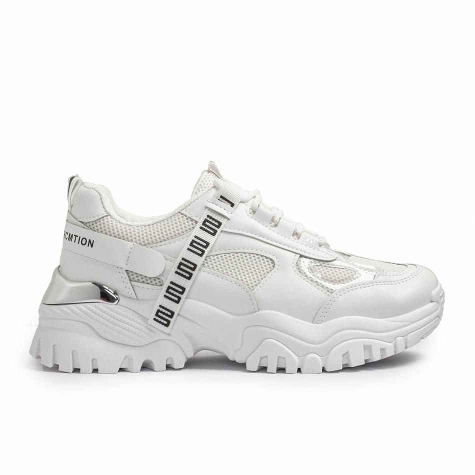 Γυναικεία λευκά Chunky sneakers με δίχτυ it110221-11