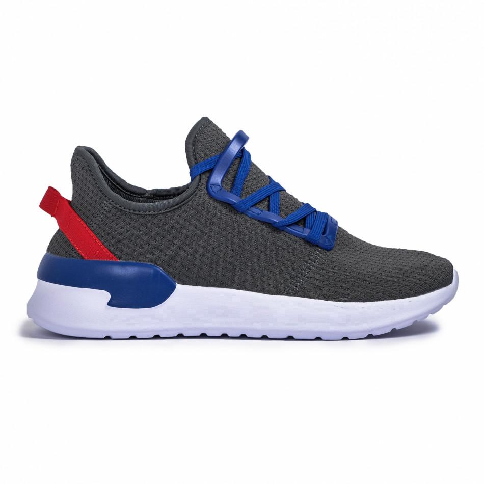 Ανδρικά γκρι sneakers κάλτσα Lace detail it260620-10
