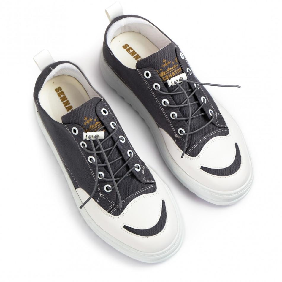 Ανδρικά γκρι πάνινα παπούτσια tr210721-2