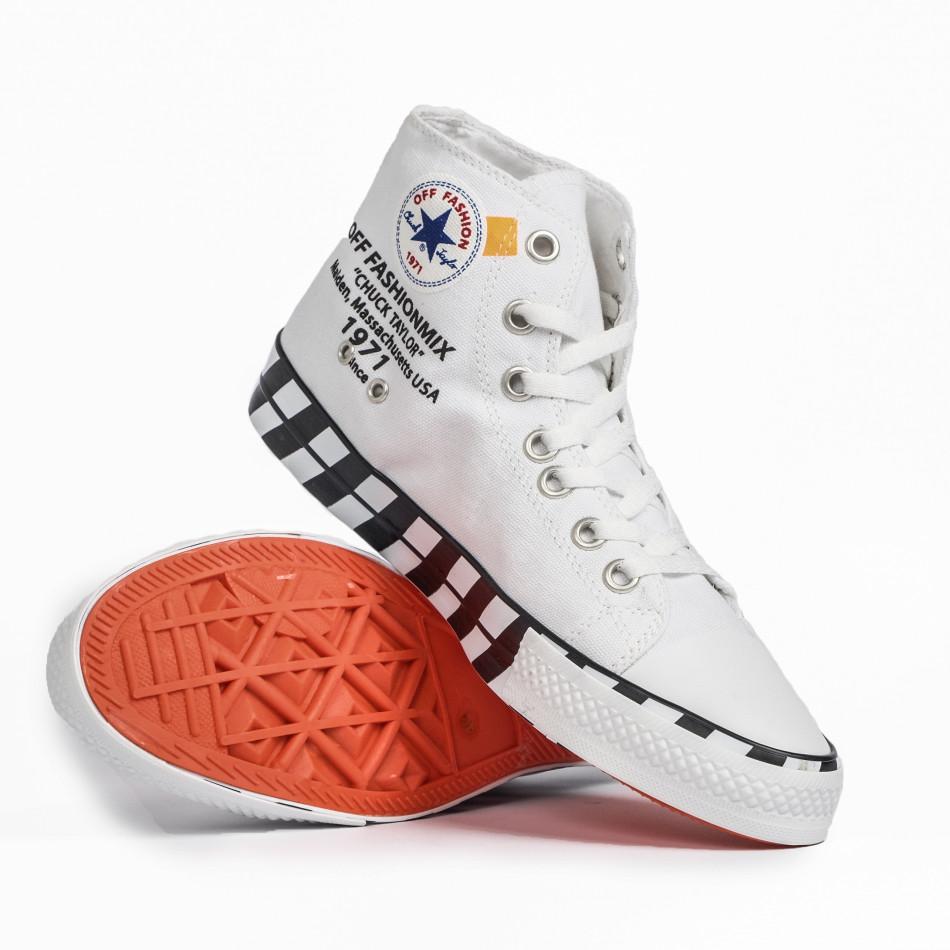 Ανδρικά λευκά ψηλά sneakers με πριντ tr260820-2