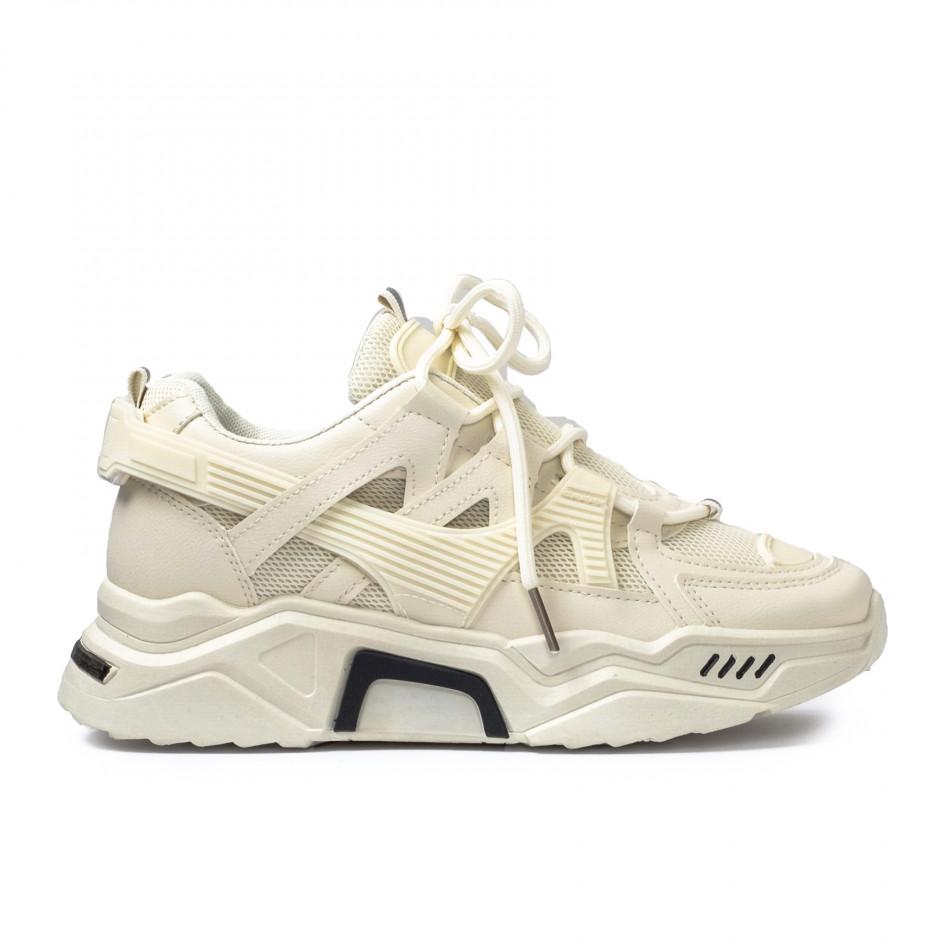 Γυναικεία μπεζ Chunky sneakers με δίχτυ it110221-10