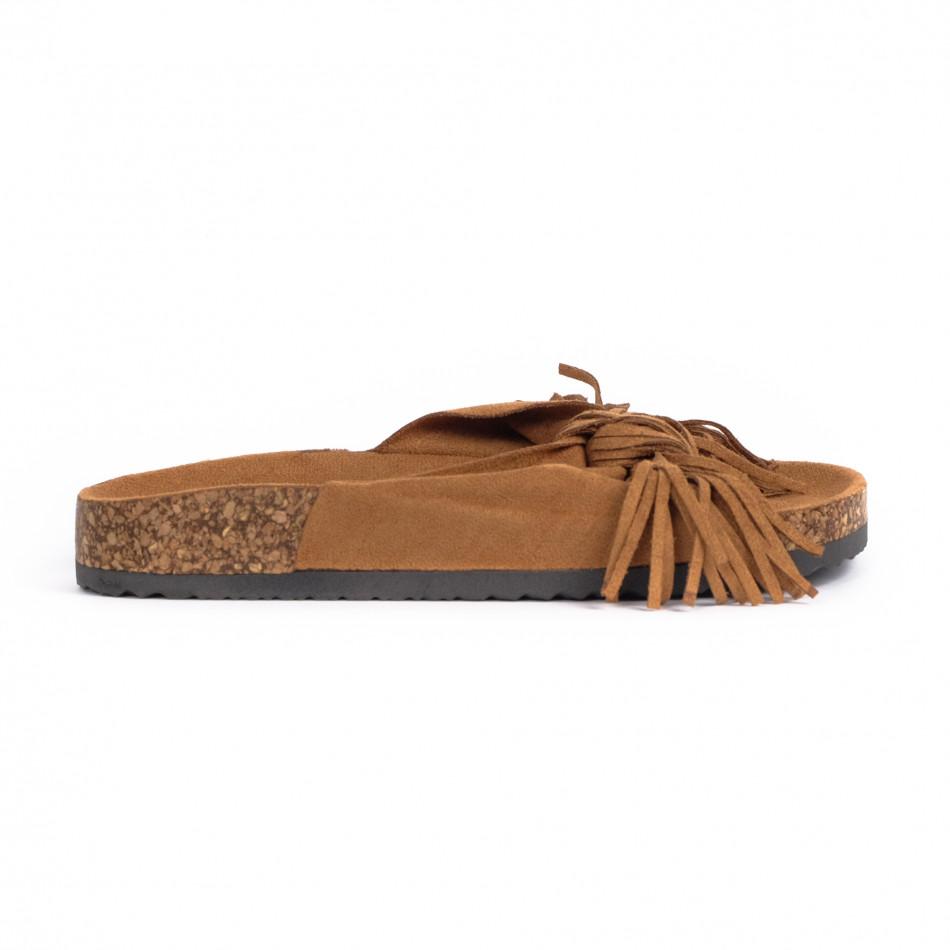 Γυναικείες camel παντόφλες με κρόσια it030620-22