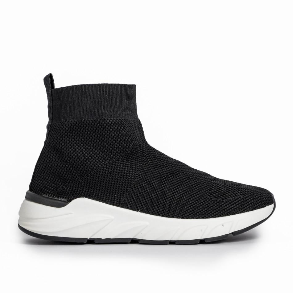 Γυναικεία μαύρα ψηλά sneakers καλτσάκι it250119-59