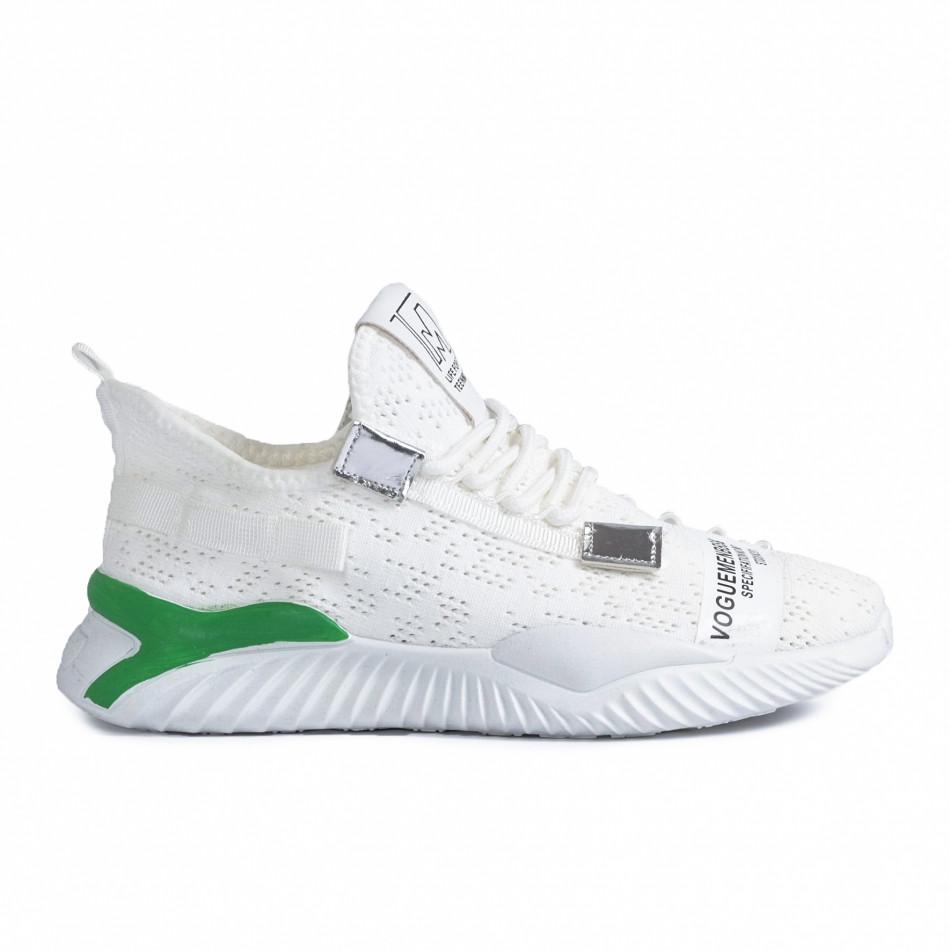 Ανδρικά λευκά sneakers με πρασινή λεπτομέρεια gr020221-4