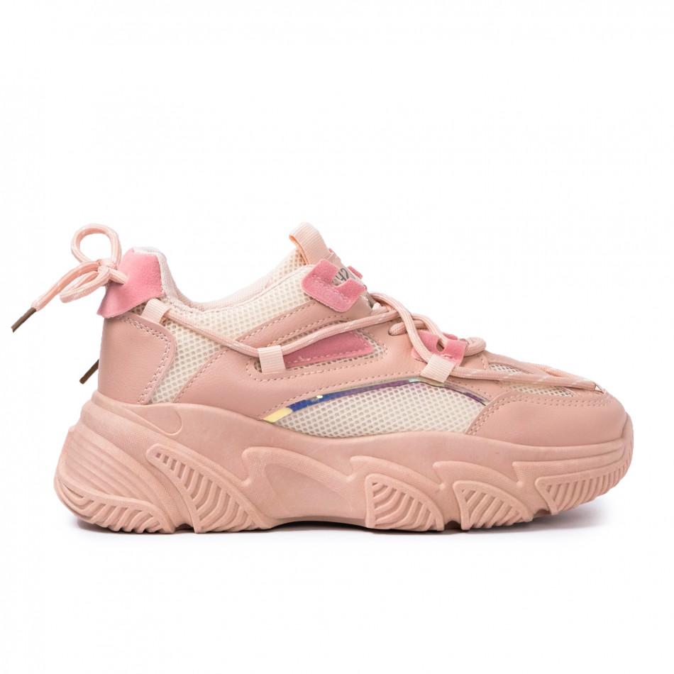 Γυναικεία ροζ Chunky sneakers με δίχτυ it110221-8