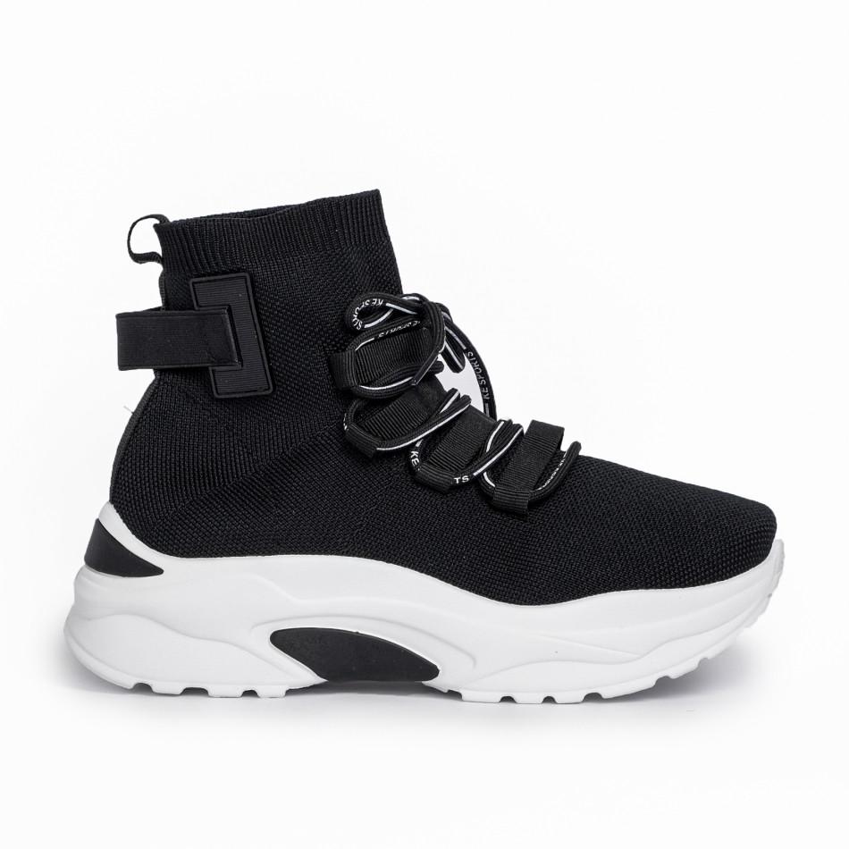 Γυναικεία μαύρα ψηλά sneakers κάλτσα it161220-15