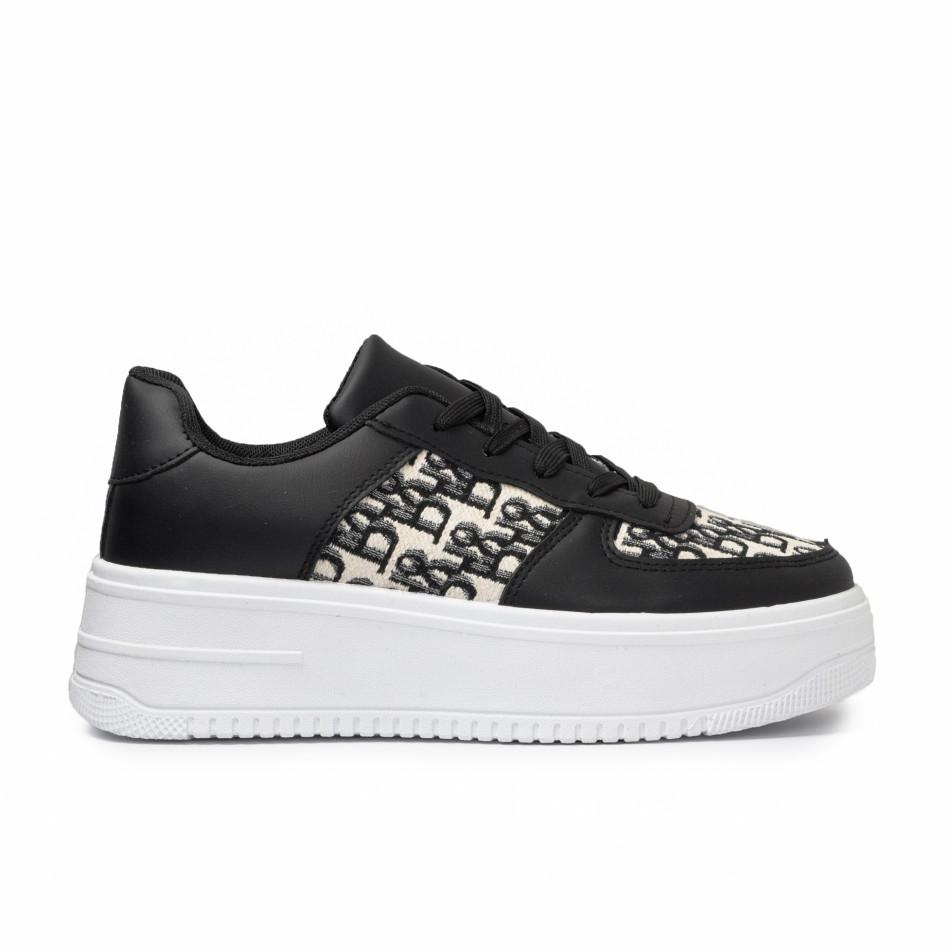 Γυναικεία μαύρα sneakers με πλατφορμα it110221-3
