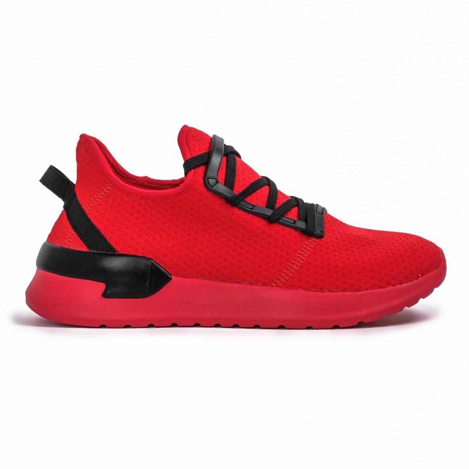 Ανδρικά κόκκινα sneakers κάλτσα Lace detail it260620-11