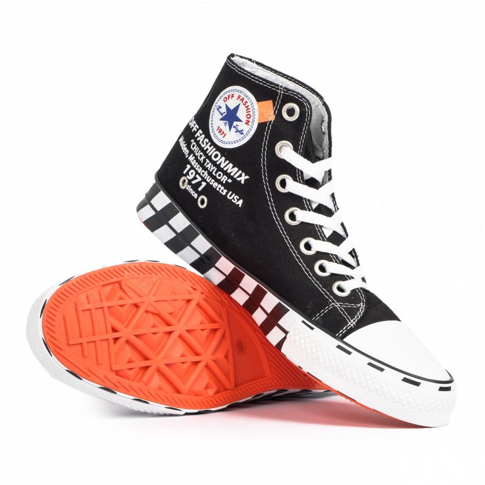 Ανδρικά μαύρα ψηλά sneakers με πριντ tr260820-1