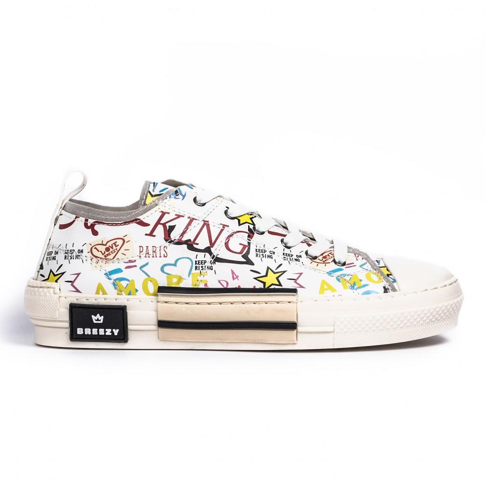 Ανδρικά λευκά sneakers με πριντ tr190620-1