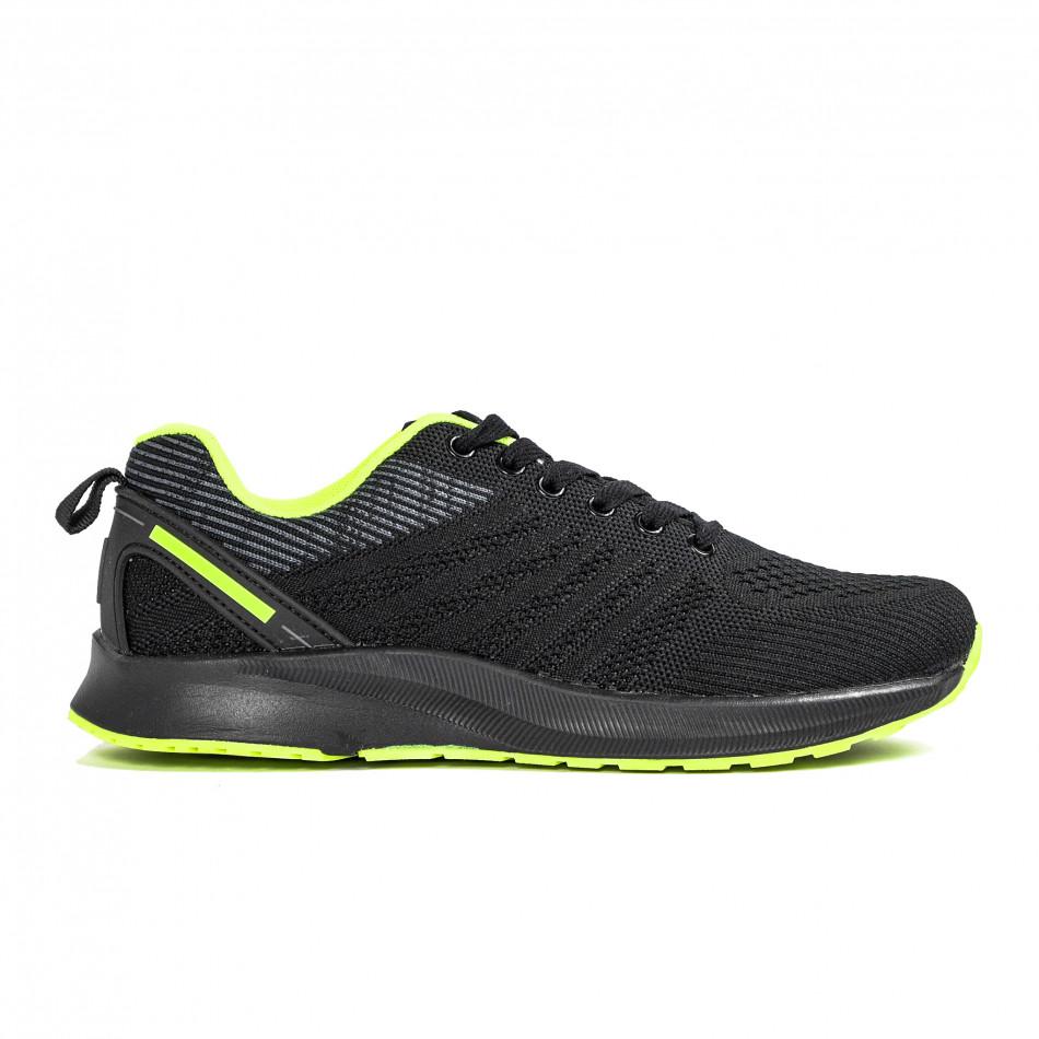 Ανδρικά μαύρα και νέον αθλητικά παπούτσι it270320-20