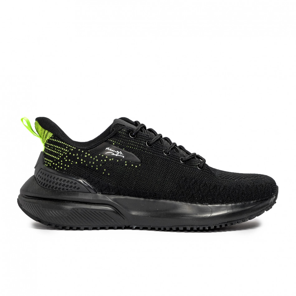 Ανδρικά μαύρα sneakers σε υφή it090321-7