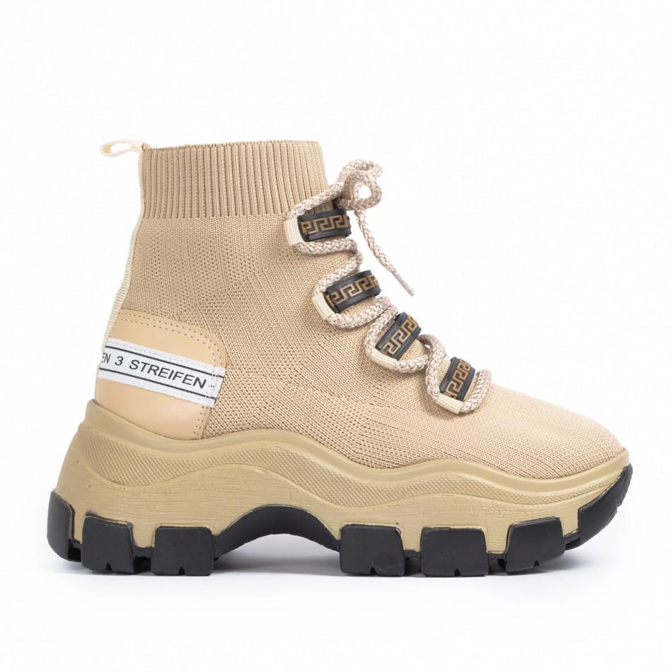 Γυναικεία μπεζ sneakers μποτάκια κάλτσα tr231020-3